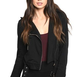 BLACK MOTORCYCLE moto BIKER JACKET